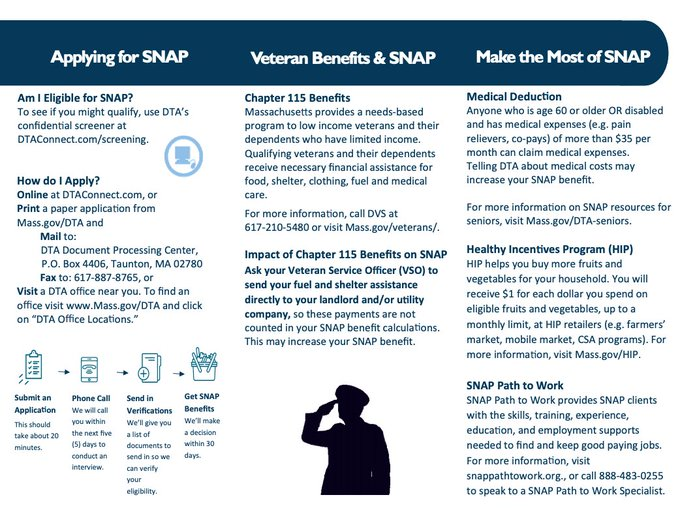 DTA has been working w/ @MassDVS, @theMVSOA & others to improve food security among #veterans.  Learn more about this work & our resources: https://t.co/Xp07t5iZys. #foodsecurity #veteransupport #outreach #SNAP https://t.co/H9ri2W2rY9