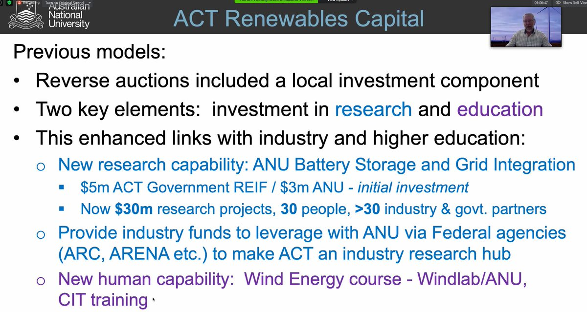 ECI Director Prof Ken Baldwin speaking at the launch of next phase of  @ACTRenewableHub and how reverse auctions for  #renewables in ACT led to investments in  #research &  #education, including creation of  @AnuGrid and new courses  @Windlab &  @Canberra_CIT.