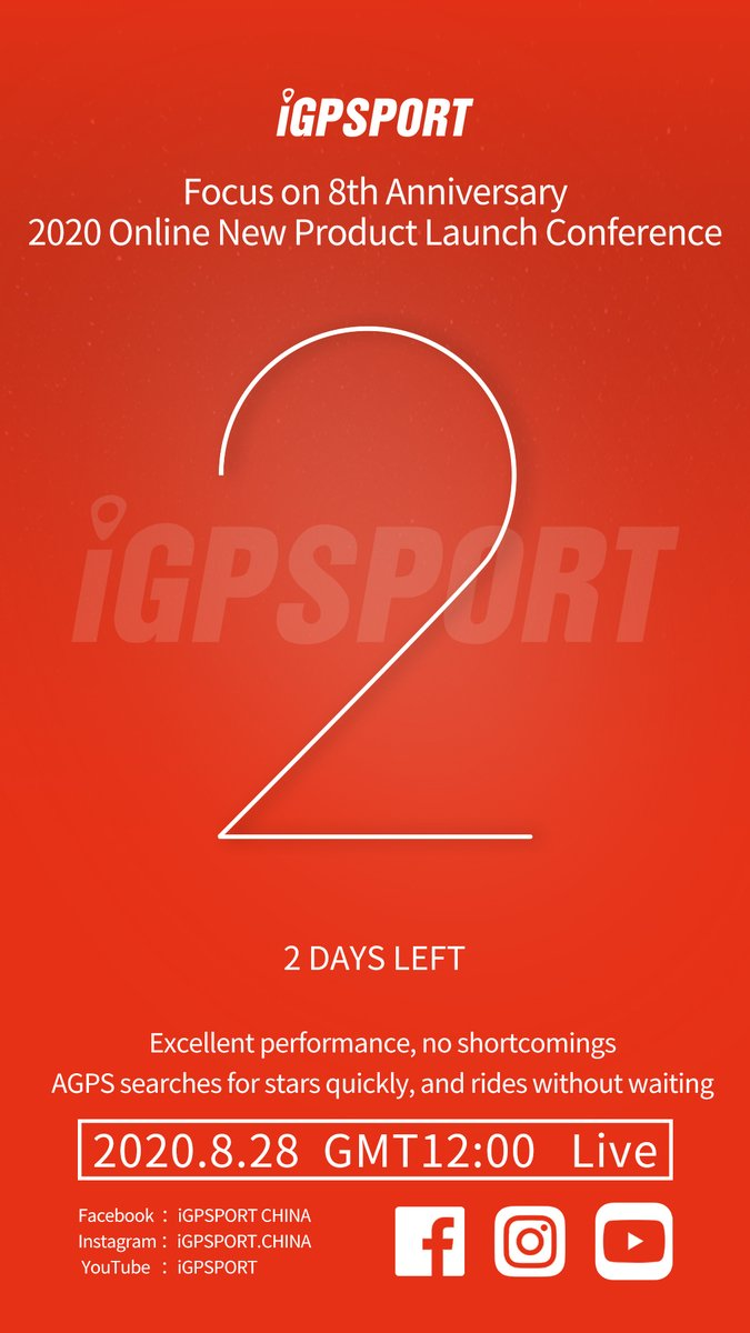 Countdown 2 days.  #8th/anniversary #iGPSPORT   Welcome to follow us. iGPSPORT creates the finest GPS Cycling Computer and accessories in the world.  Facebook: https://t.co/tL51h5ddCK  YouTube: https://t.co/4n0OuAT4tb   #Cycling #Bike #Training #Bikecomputer #WorldBicycleDay https://t.co/OZOakE9D8U