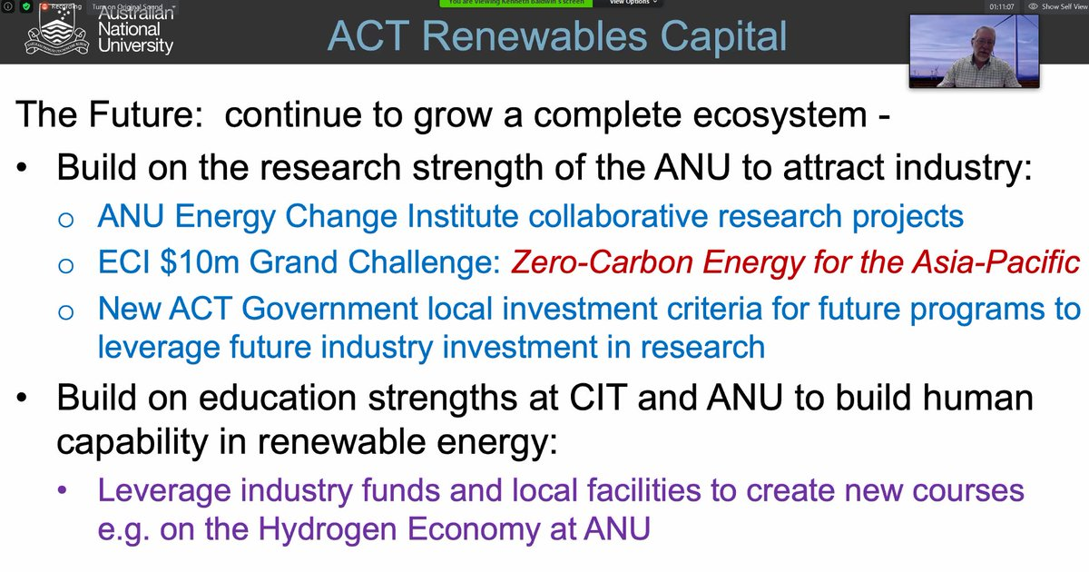 Prof Baldwin says the future of the ACT Renewables Capital includes building on  @ourANU research strength to attract industry including to ECI and the Grand Challenge: Zero-Carbon Energy for the Asia-Pacific  #ZCEAP  http://www.anu.edu.au/zerocarbon