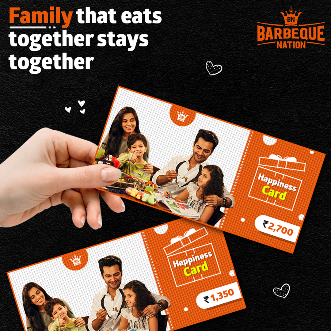 Surprise your friends and family with the happiness card. Gift card with unlimited food, unlimited fun & unlimited celebrations only @ Barbequenation. Buy now : https://t.co/dEuTUY7l1f https://t.co/pNjHcM7jt0