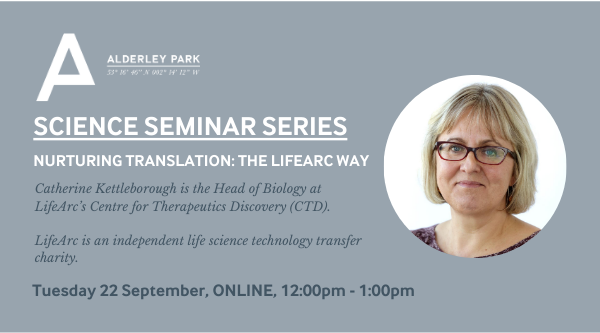 📢 We're so excited to be welcoming Catherine Kettleborough, Head of Biology, @lifearc1 as guest speaker for our next #AlderleyPark Science Seminar Series. Tuesday 22 September, 12:00 - 1:00pm 👉Find out more and register below. https://t.co/agICgoSOpj https://t.co/KF4aA2AWNk