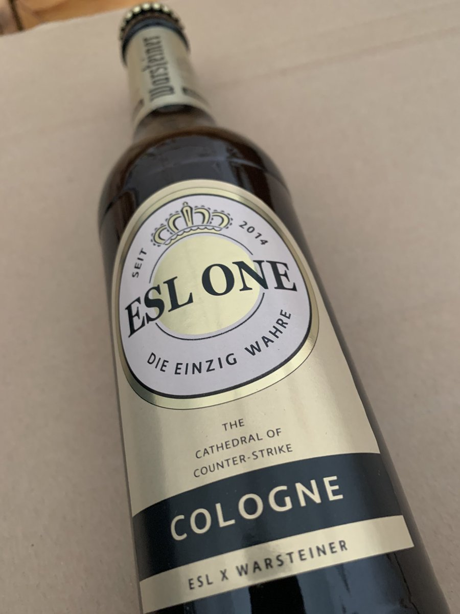 This beer bottle to honor @ESLCS One Cologne is actually so cool. @ESL @ESLShop Thank you! https://t.co/X8Szcygpn4