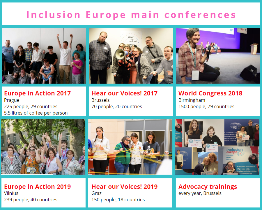 Pictures from Inclusion Europe main conferences 2017 - 2019