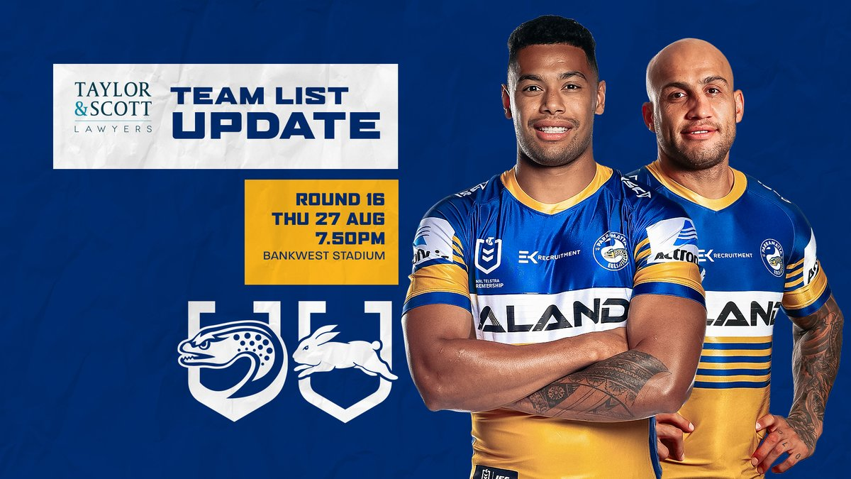 Parramatta Eels On Twitter Team List Update With 24 Hours To Go Until Our Clash Against The Rabbitohs Ba Has Reduced His Squad To 19 See The Updated Team Lists
