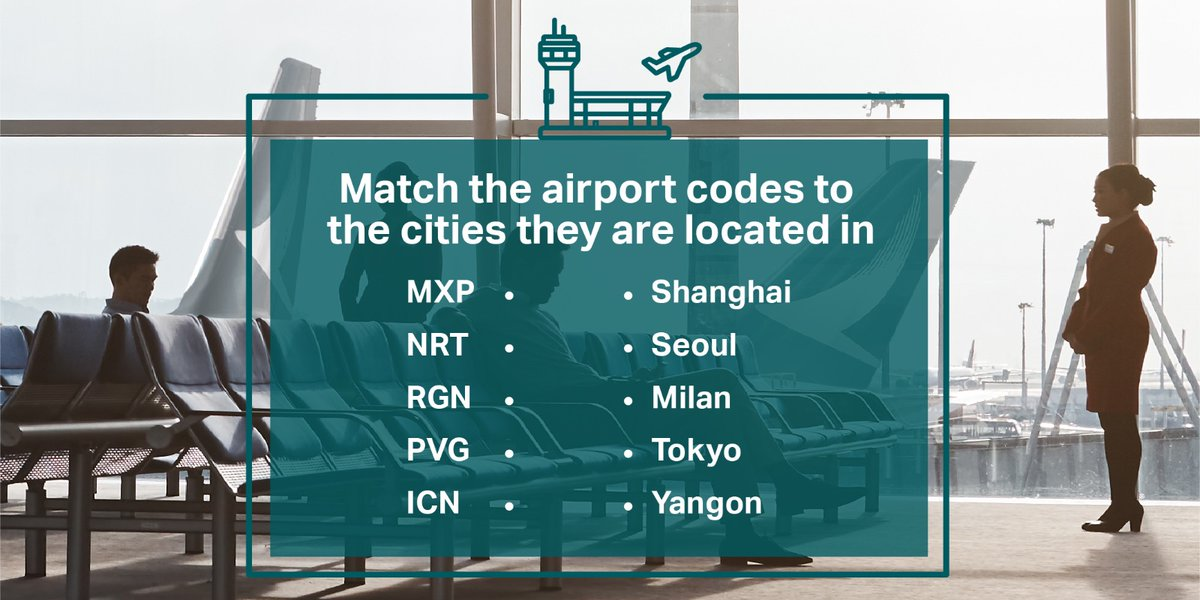 Some airport codes are obvious, others not so much. Here's a little challenge for all you globetrotters out there. How many airports can you match to these airport codes? Tell us in the comments. Bonus points if you can name the other airports we fly to in these destinations! https://t.co/IWBSzqn4K6