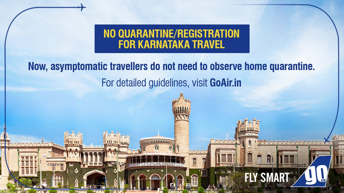 Now travel at ease to #Bengaluru ✈ You are no longer required to quarantine/register on arrival! It is, however, advised to self-monitor your health for 14 days. For detailed guidelines, click here: https://t.co/BZCpyginWM https://t.co/ITW5QKF9Cl