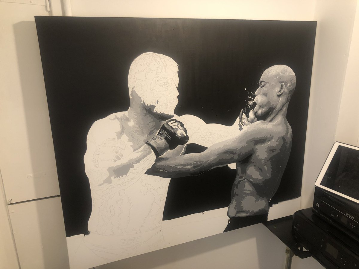 Day 5 completed on the new @bisping painting vs silva at #ufclondon hope you like it so far champ 🔥👍🏻🎨🏴󠁧󠁢󠁥󠁮󠁧󠁿🥊🤝 #MMA #UFC #ufcfans #WednesdayMotivation #WednesdayWisdom https://t.co/w91nK4spLZ