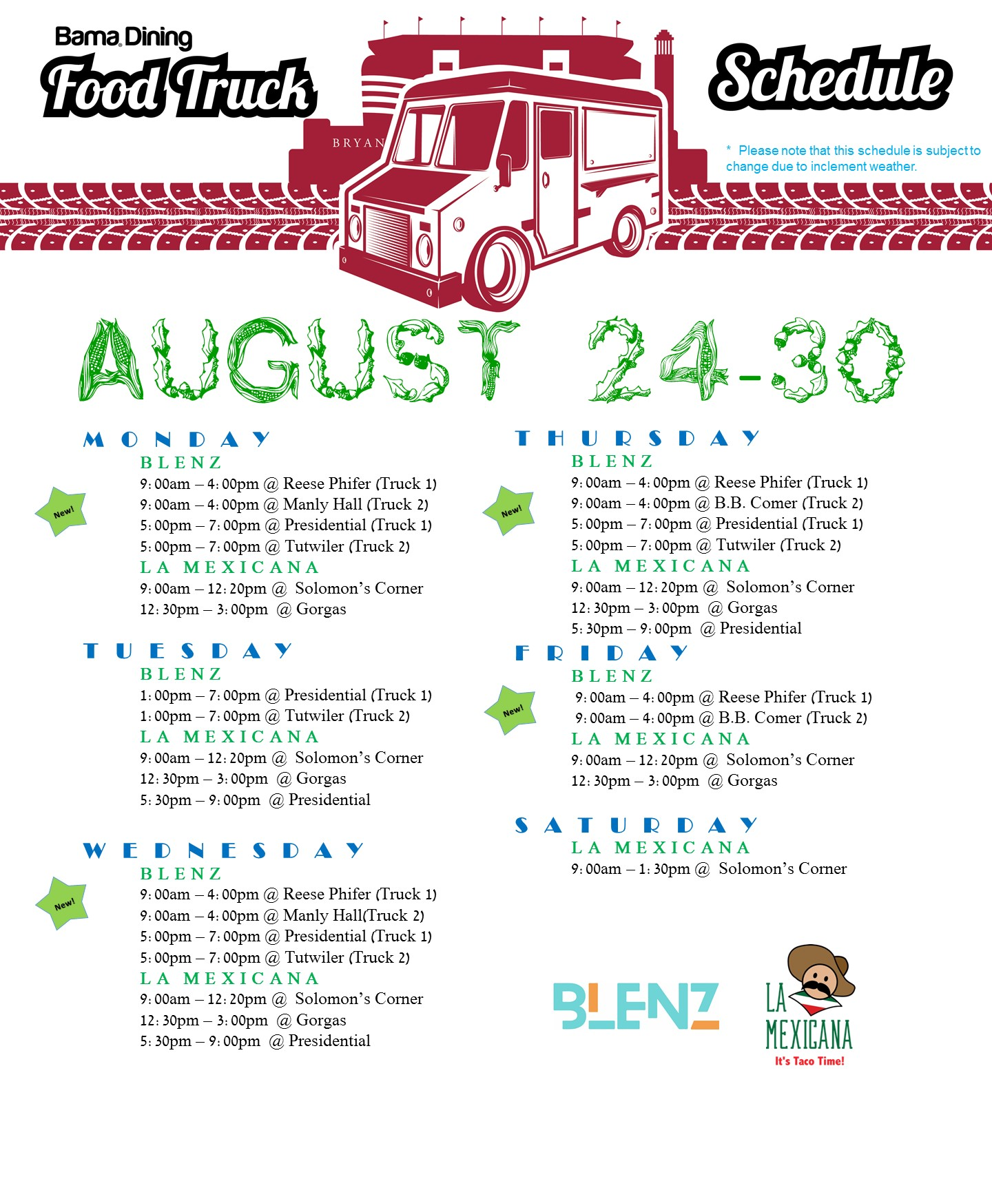 Bama Dining On Twitter Food Truck Schedule Update