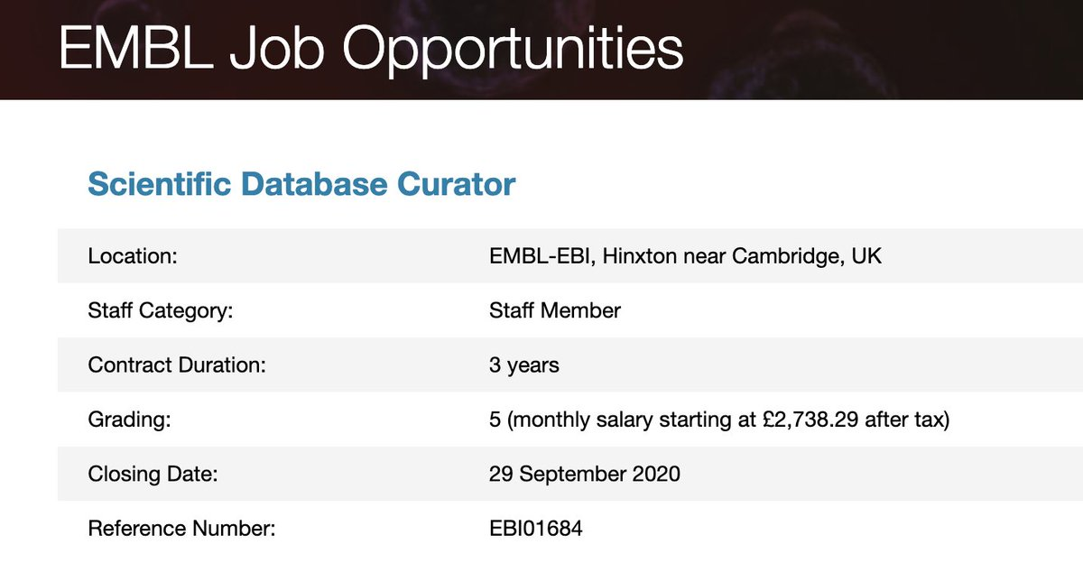 New: Do you ❤️ #cryoEM? The Cellular Structure & 3D Bioimaging team at EMBL-EBI is now #hiring a Scientific #DatabaseCurator to work on #biocuration within @EMDB_EMPIAR and make the data more accessible. #scijobs #bioimaging #biocurationjobs https://t.co/LslIC8MdJG https://t.co/TE9vdKaYAb
