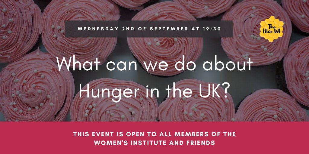 Join us and @HopeNottingham for a discussion about hunger in the UK, what the causes are, and what we can do about it. All women and WI members are welcome. Please share and send me a message for the Zoom link! 🙂