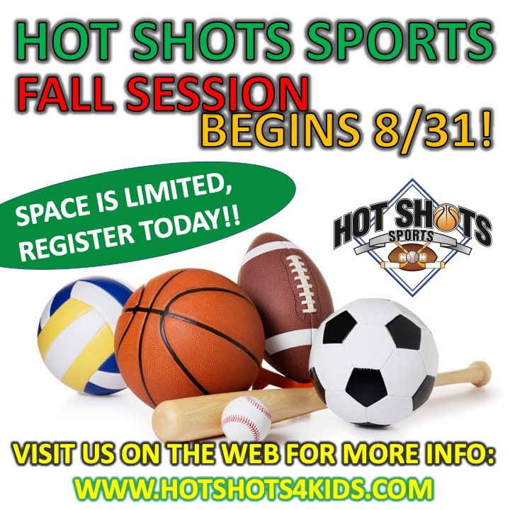 Registration is open for Fall Sports classes! Visit our website for more info: https://t.co/xJY73jI4Nd • #hotshotssports #youthsports #beactive https://t.co/sBF8uZ6bcE