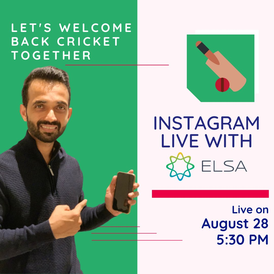 Don't miss this! We are going live with @ajinkyarahane88  on 28th August. Join us on our instagram channel to watch the live session.  Instagram - https://t.co/9XbI8ShP9f  #ElsaSpeak #Cricket #Instalive #EnglishSpeaking #LearnEnglish #Announcement https://t.co/gQCJm6k2nX