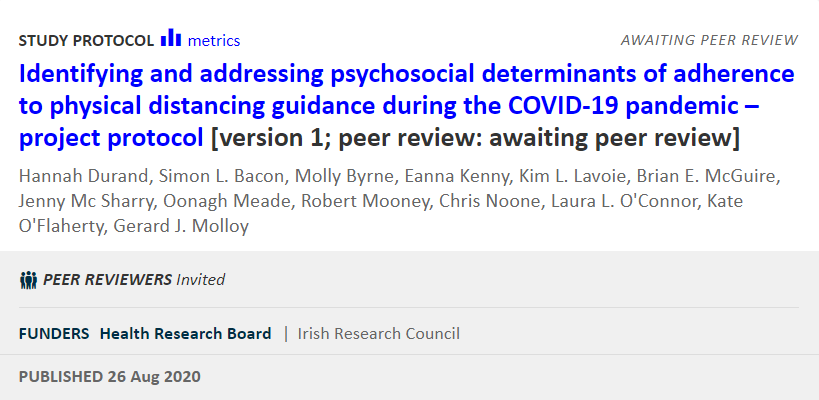 Great to see the protocol for our @hrbireland/@IrishResearch funded research on #adherence to #PhysicalDistancing during #COVID19 published in @HRBOpenRes. Only 28 days from submission to publication! https://t.co/woaAhnYJFA   #COVID19Ireland #COVIDResearchIreland #OpenScience https://t.co/OxbQyDxANh