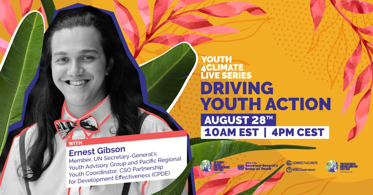 Bula gang, I will be joined by fellow youth leaders Rachele Rizzo 🇮🇹 (@ItalianClimate) & @HeetaLakhani 🇮🇳 (@IYCM) as well as the @UNYouthEnvoy herself 🇱🇰 for Friday's #Youth4ClimateLive 🌍 There's still time to sign up! Don't miss out 💚: https://t.co/YWtvEFg0xz https://t.co/uRPfSY3ASW
