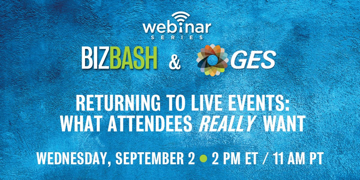 Join us as we discuss with BizBash the results from our attendee survey. Register for the webinar now to find out more about the 88% of event attendees who are ready to come back. https://t.co/e0qs9XrDQd #REfocusREinventREconnectGES #eventprofs #liveevents https://t.co/o6IspNyvHk