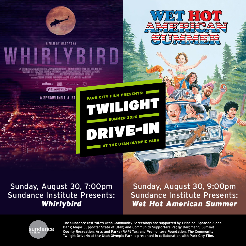 #Utah! This Sunday, join us and @parkcityfilm for FREE screenings of WHIRLYBIRD and WET HOT AMERICAN SUMMER at the Community Twilight Drive-In at Utah Olympic Park. Register here: https://t.co/KS1pWGnEV3 https://t.co/qU6XiA99im