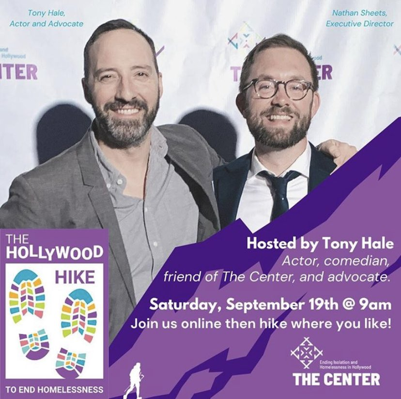 Hiya! Very very excited about this. On September 19th, I'm going to be virtually hosting a Hike to End Homelessness...and you can hike wherever you are! Or tune in, sit on your couch and watch the YouTubes of other people hiking. @centerhollywood are the real deal.