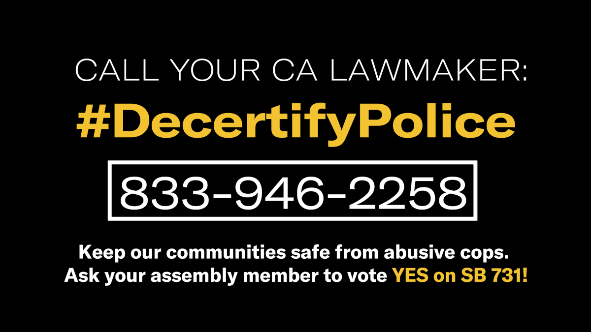 VICTORY!  Thank you Asm. @MarkStone and the Judiciary committee for advancing #SB731 to the Assembly floor. #DecertifyPolice  We need YOU to call your Assemblymember and urge them to VOTE YES: ➡️833-946-2258⬅️ https://t.co/v3CjV97vqh
