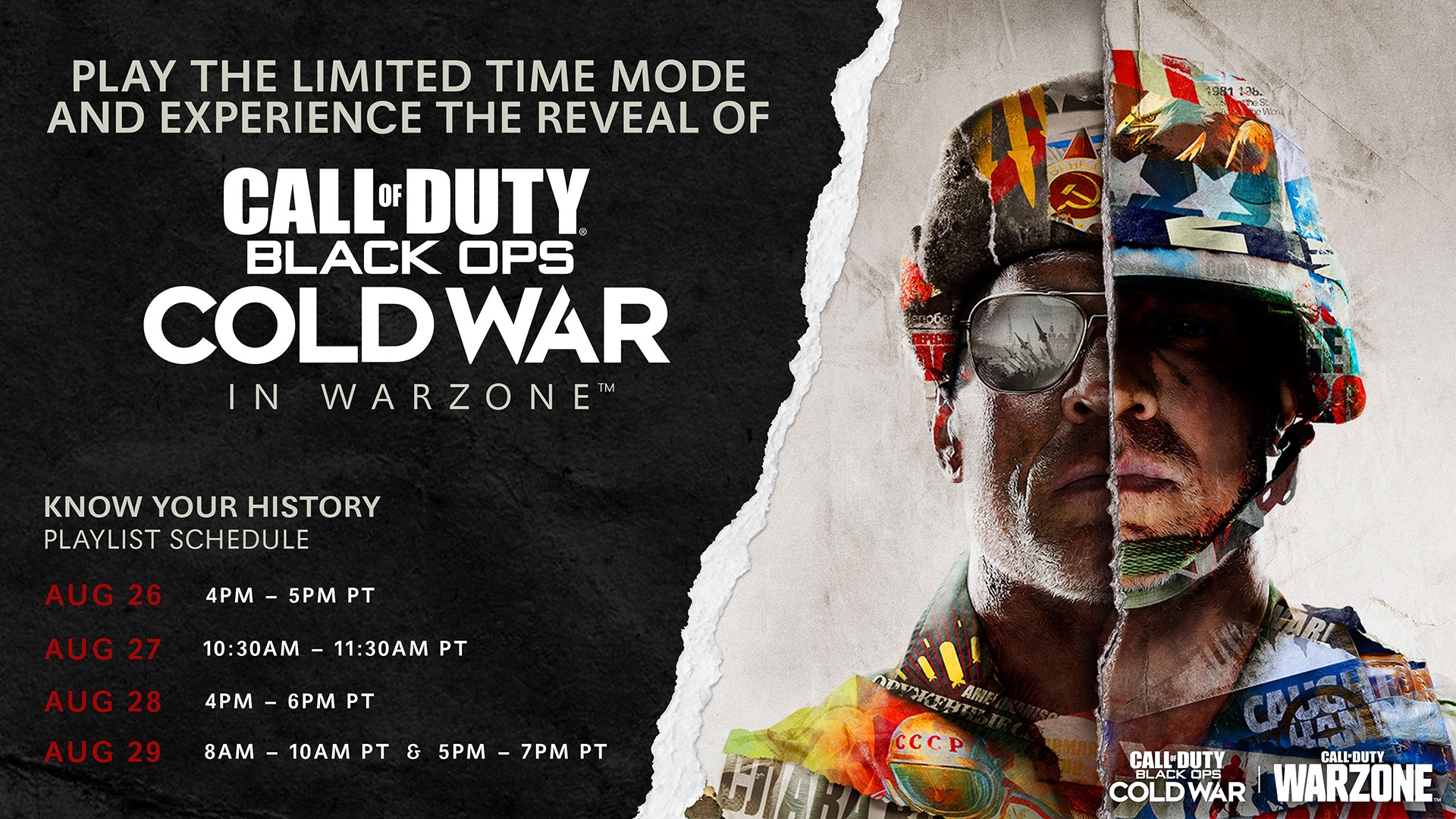 Call Of Duty Warzone News On Twitter Re Experience The Call Of Duty Black Ops Cold War World Reveal In Warzone Here Is The Know Your History Playlist Schedule Https T Co Mi4fmdiusj