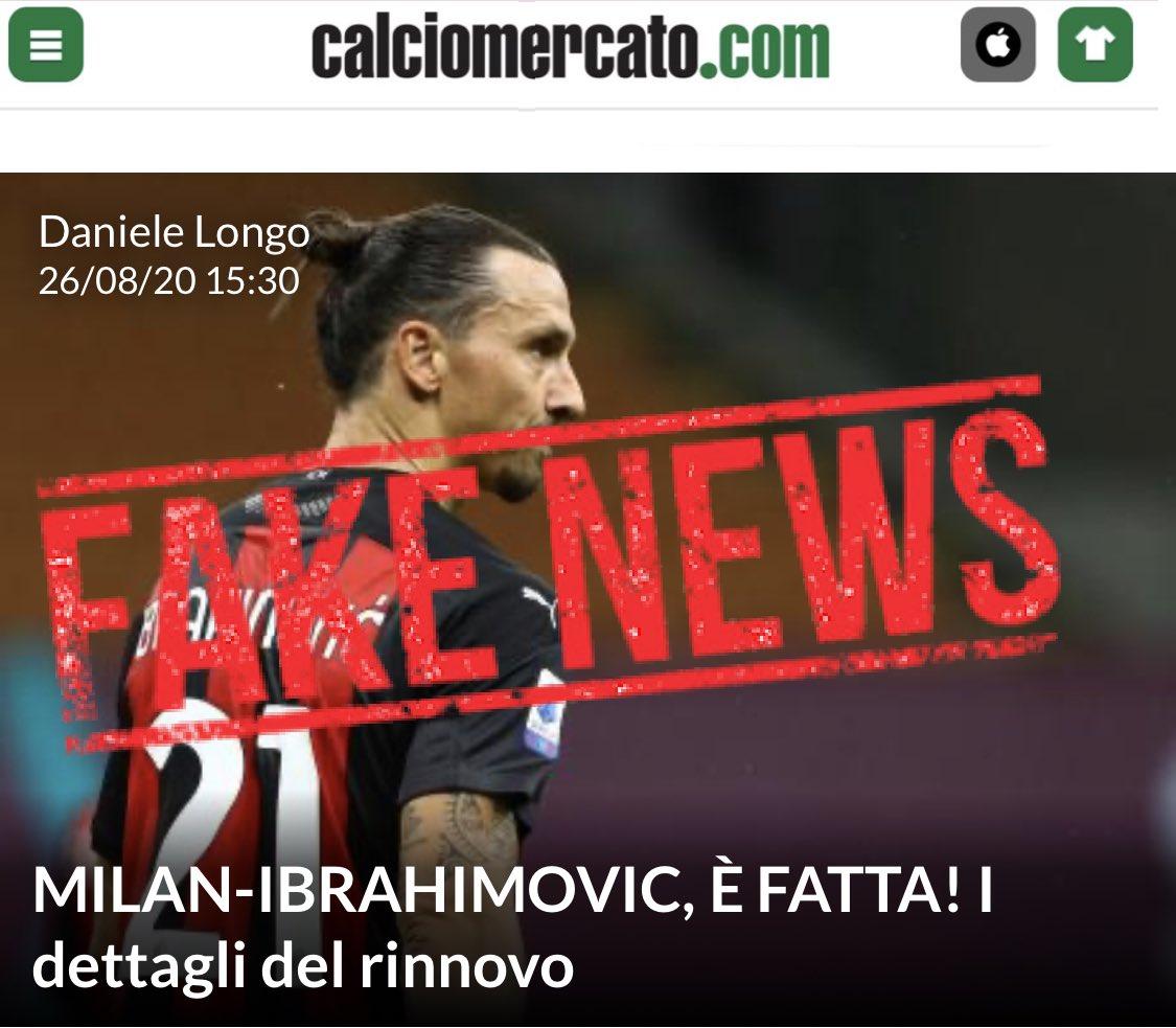 Ibrahimovic has NOT renewed his contract with AC Milan. ⠀ Ibrahimovic NON ha rinnovato il suo contratto con AC Milan. #FakeNews https://t.co/cSiYLxF7pT