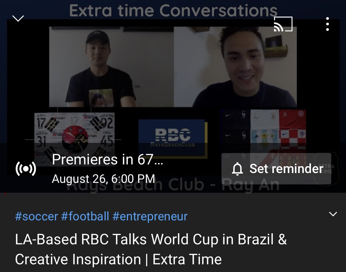 🚨New video alert🚨 Extra Time Conversations is a new show where I speak to creators of the soccer world about life, culture and of course, soccer! First episode today at 6 PM EST with @RAYSBEACHCLUB Creative Director, Ray An. youtu.be/nAeuyob6wGk