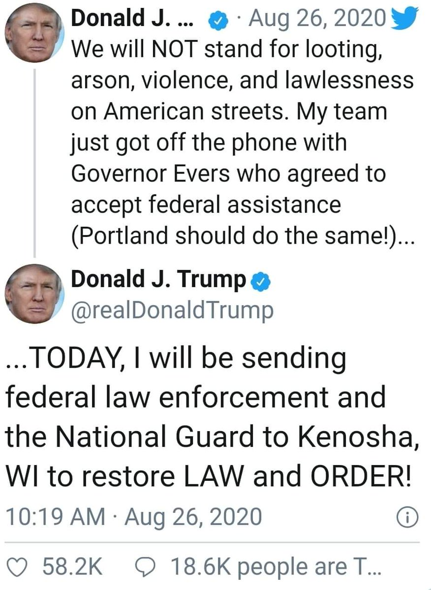 This how the orange man @realDonaldTrump responds to the Uprising in Wisconsin lol.......Nothing about killer Kyle Rittenhouse nothing about Killer cops only about the lawlessness and the looters #connecttheDots family.....Ya'll  Negroes Still voting Trump 🤣😂🤣🤣🤣🤣🤣 https://t.co/bdIvjTCk3B