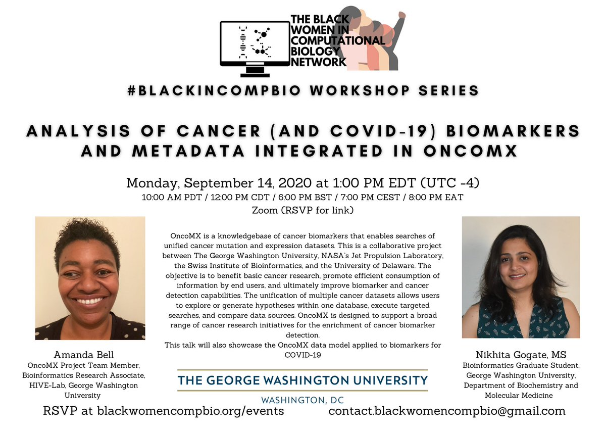 New Date: Monday, September 14, 2020   Wondering what #COVID19 and #cancer have in common? Come learn how the @OncoMX_KB data model is applied to research in both areas by #BlackInCompBio scientist Amanda Bell and colleague  @NikhitaGogate.   RSVP: https://t.co/sqfiiQLmDo https://t.co/hEoJ110f8r