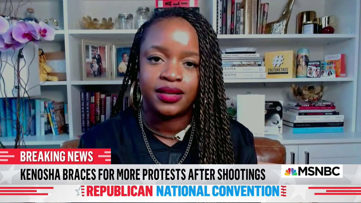 """""""The way to end protests is not to demean protesters. The way to end protests is to actually deal wit the roots of the injustice that protesters are out there protesting.   If you want the protests to end then stop killing us.""""  @MsPackyetti on Kenosha. #TheReidOut"""