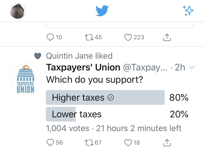 Which do you support? Higher taxes (resp:80%), lower taxes (resp: 20%)