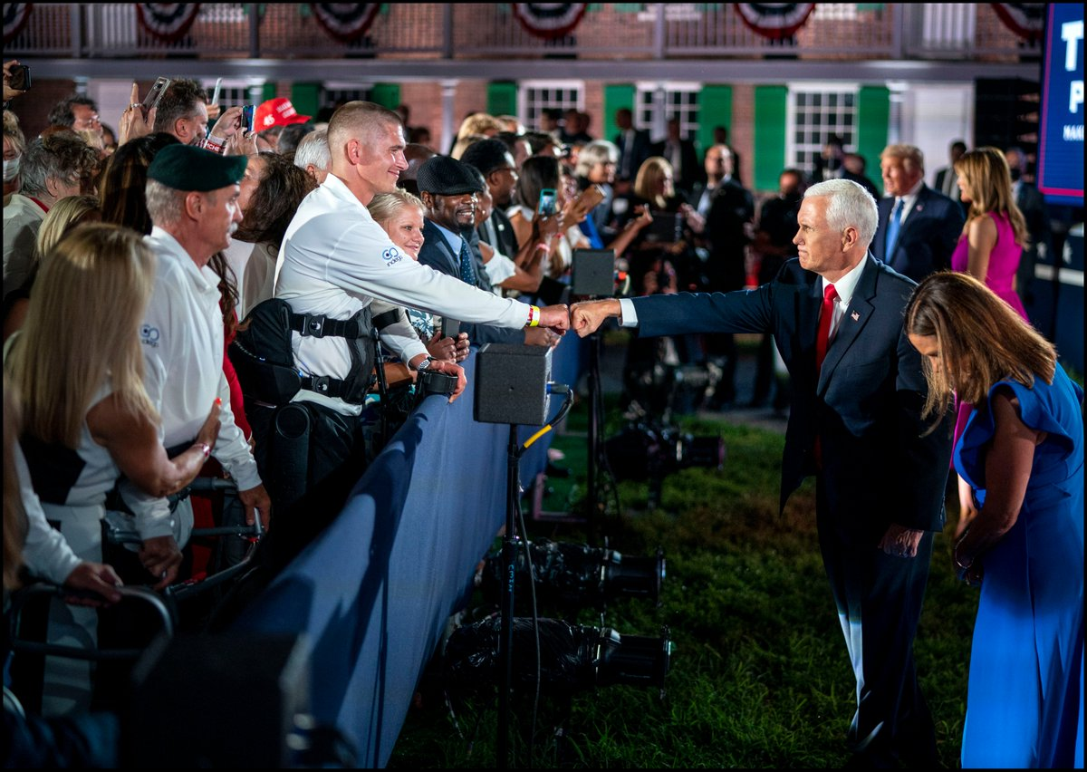 .@VP gives a fist bump to a disabled war veteran following his speech to the Republican convention at Fort McHenry in Baltimore, Md. https://t.co/A7fyUchGJk