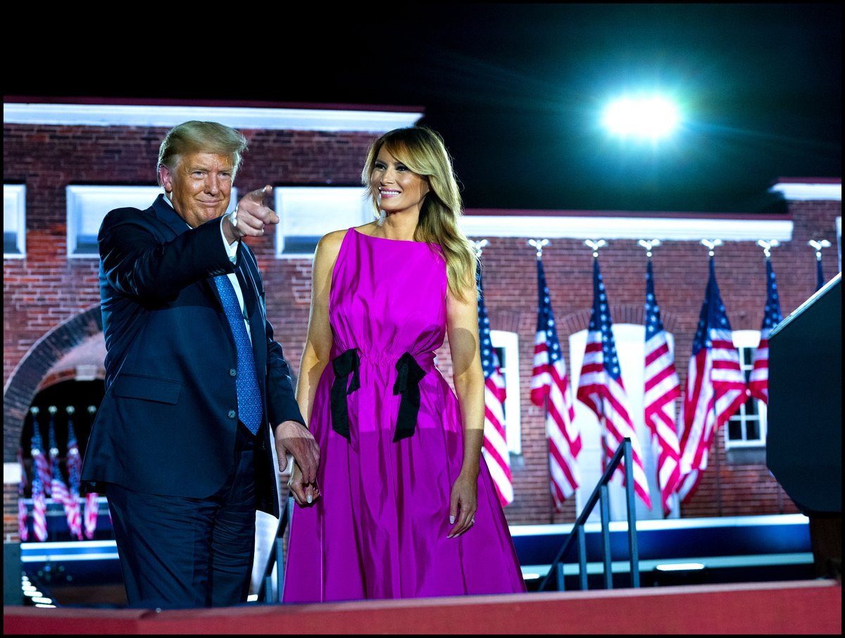 .@realDonaldTrump & @FLOTUS thank their supporters after Vice President Mike Pence's speech to the Republican convention in Fort McHenry in Baltimore, Md. https://t.co/GVOBzajpt2