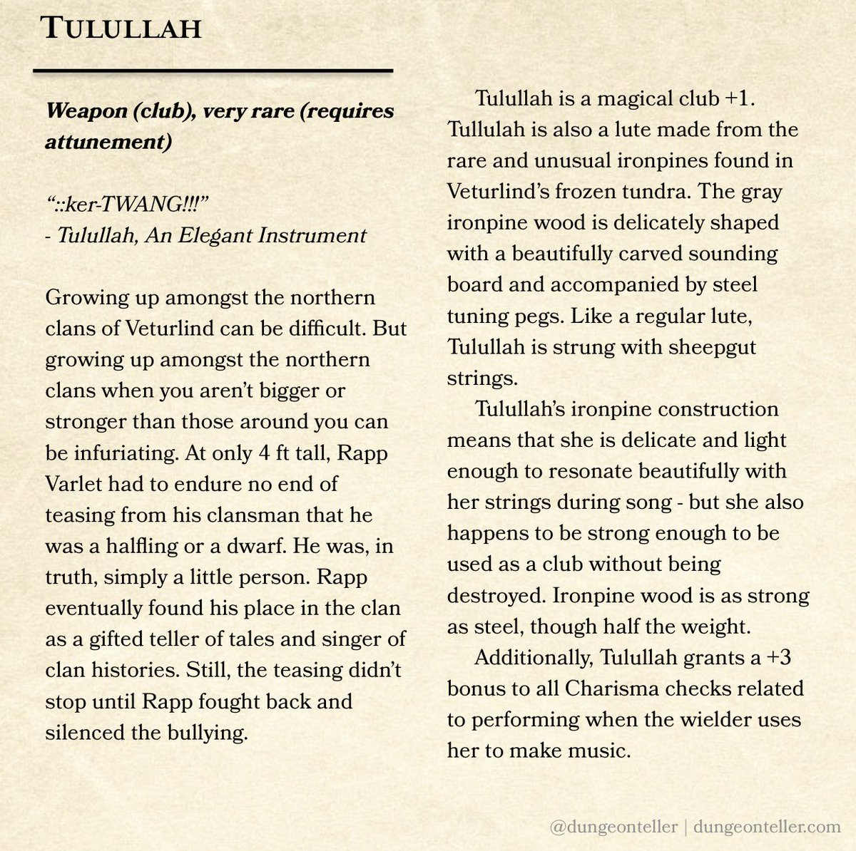 Dungeonteller Com On Twitter Magic Item A Day No 239 Tulullah A Magical Lute With The Gift Of Both Song And Black Eyes Dungeonsanddragons Dnd Dnd5e Tabletopgames Ttrpg Roleplaying Rpg Homebrew
