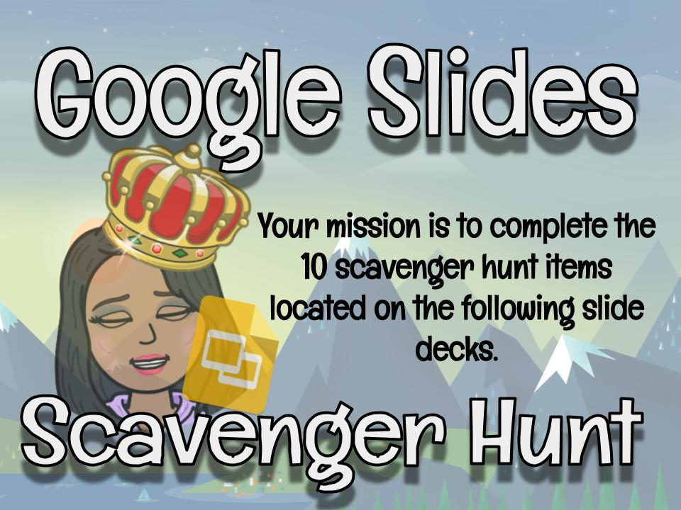 Slides Scavenger Hunt! I have been seeing a number of edit requests for this in my email- so here you go! A great back to school activity to get to know the different features of Google Slides! https://t.co/SU4yCNIbb9 @EdTechTeamCAN @edtechteam @MrMaltais https://t.co/sgIXIYqJ93