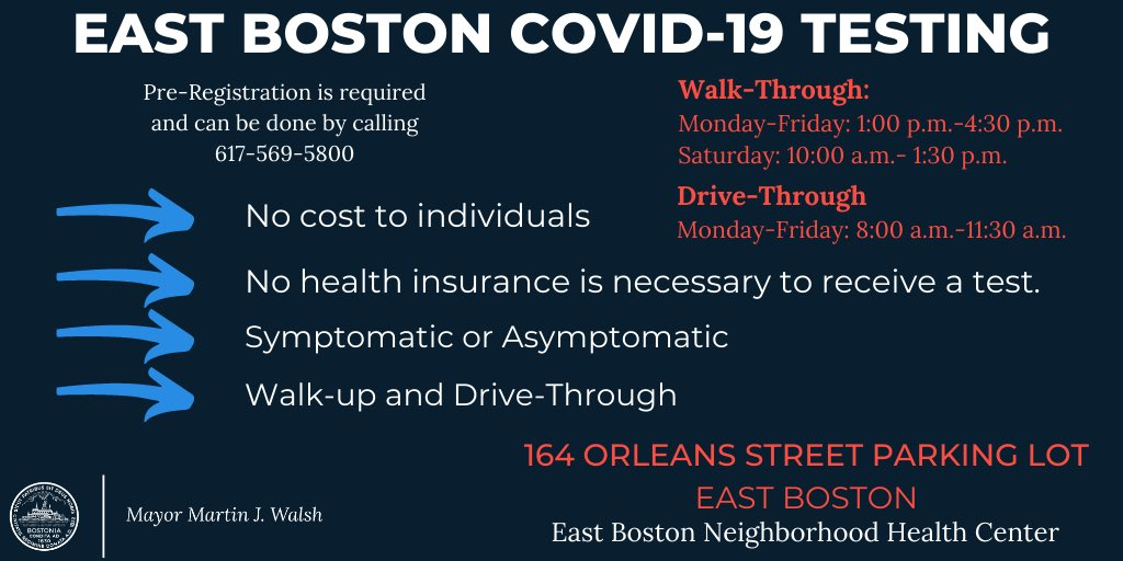 East Boston is the neighborhood with the highest positive #COVID19 test rate in the city.   FREE testing is available in East Boston through @CityOfBoston and @EBNHC ⬇️ https://t.co/WGzewYdtSl