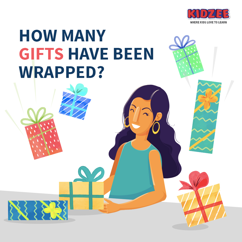 It's Sana's birthday tomorrow! And her parents are preparing for it by wrapping return gifts for all her friends!  But they seem to have lost count! Can you help them?   #Kidzee #Learning #LearningAtHome #FunLearning #Counting #Gifts #GiftWraps #Activity #Growth #Numbers https://t.co/1gjk3ZqwKF