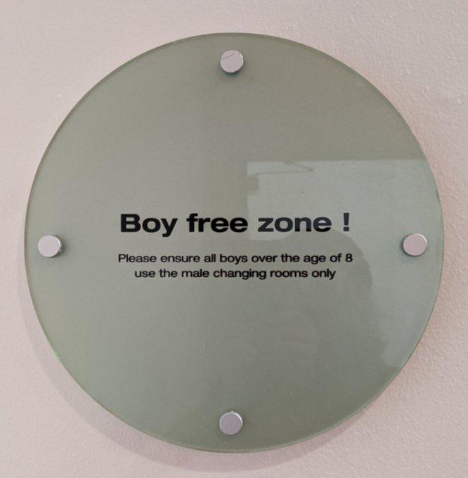 Boy free zone sign at gym.