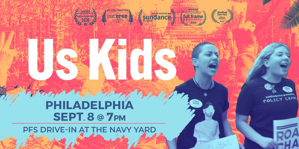 We are thrilled to bring #UsKidsFilm to Philadelphia on Tuesday 9/8 and tickets are on sale now! This film, which showed at Sundance 2020 and chronicles the birth of @AMarch4OurLives, will move you, and inspire you to get involved. ✊🏼✊🏽✊🏾 Get tickets! https://t.co/YW5PKZ6ONY https://t.co/p4kaBHVQeM