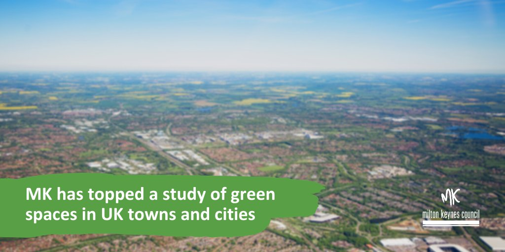 A new commercial study has found Milton Keynes is the 'greenest city in the UK' based on our number and size of parks.  MK came out top of all UK places with more than 15.42m² of parkland per every ten residents.  We're proud of our green spaces in Milton Keynes. #LoveMK https://t.co/Y06uQsLGMQ