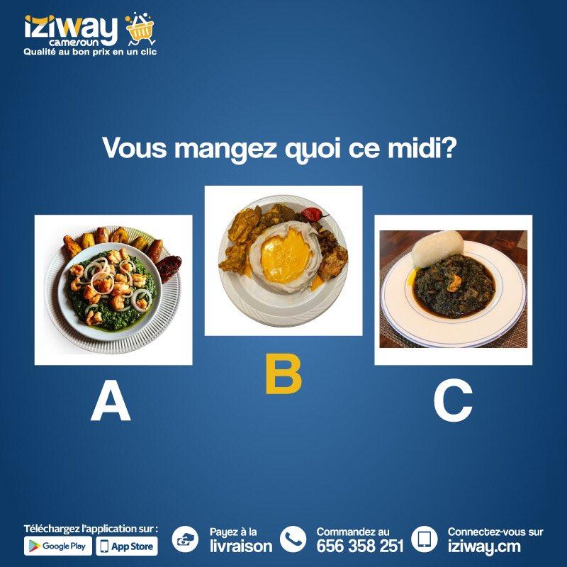 Designer à l'aide des lettres A, B et C ou donnez en commentaire votre repas de ce midi 🕛🥙  Moi je penche pour un bon Ndolè aux crevette 🤤  #iziway #izifun #bonmidi #midi #lunchtime https://t.co/MG6gmOMS5V