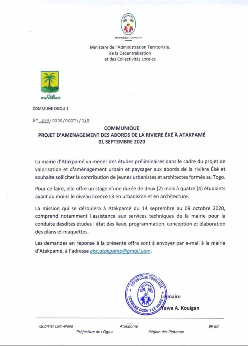[COMMUNIQUÉ]  Date limite des dépôts : 10/09/2020  Dossier de candidature :  🟡Lettre de motivation 🟢CV 🟡Portefolio   #CommuneOGOU1 #Jobalert #TgTwittos #Team228 https://t.co/JDYOsd9AmU