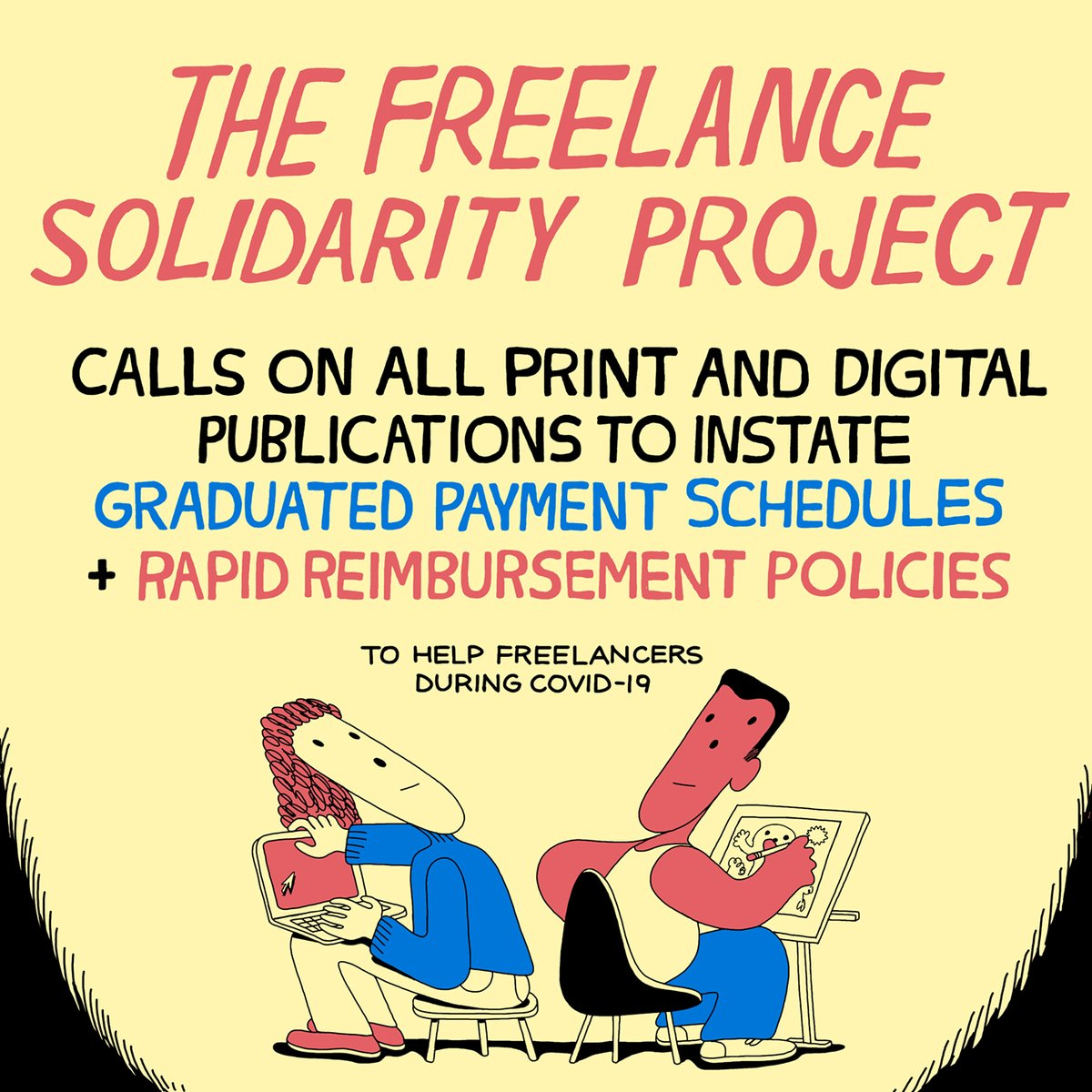 Today we're calling on all print and digital publications to instate graduated payment schedules and rapid reimbursement policies to help freelancers during the pandemic. Here's what that means: https://t.co/XXUmq2KFqg https://t.co/8guxV9QFul