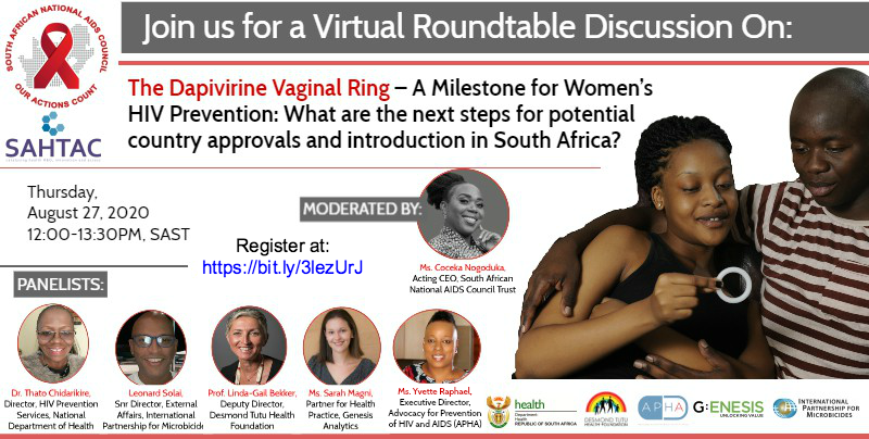 Prof. @LindaGailBekker ends her presentation by emphasising that women need multiple #HIV prevention tools - she's speaking at the webinar currently underway about the #Depivirine vaginal ring. JOIN us now. Details on the post below. #WomensMonth #WomensDay