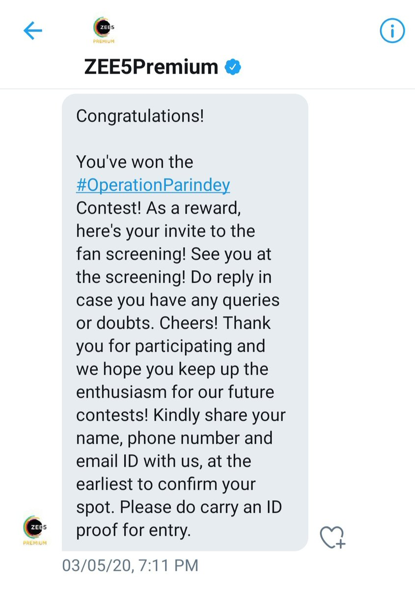 Contest Results declared on  5th March, 2020. 5 month completed But till now No reward & No response from there side  Please check dm @ZEE5Premium @ZEE5Support @india4contests https://t.co/9iPvgoxHOL
