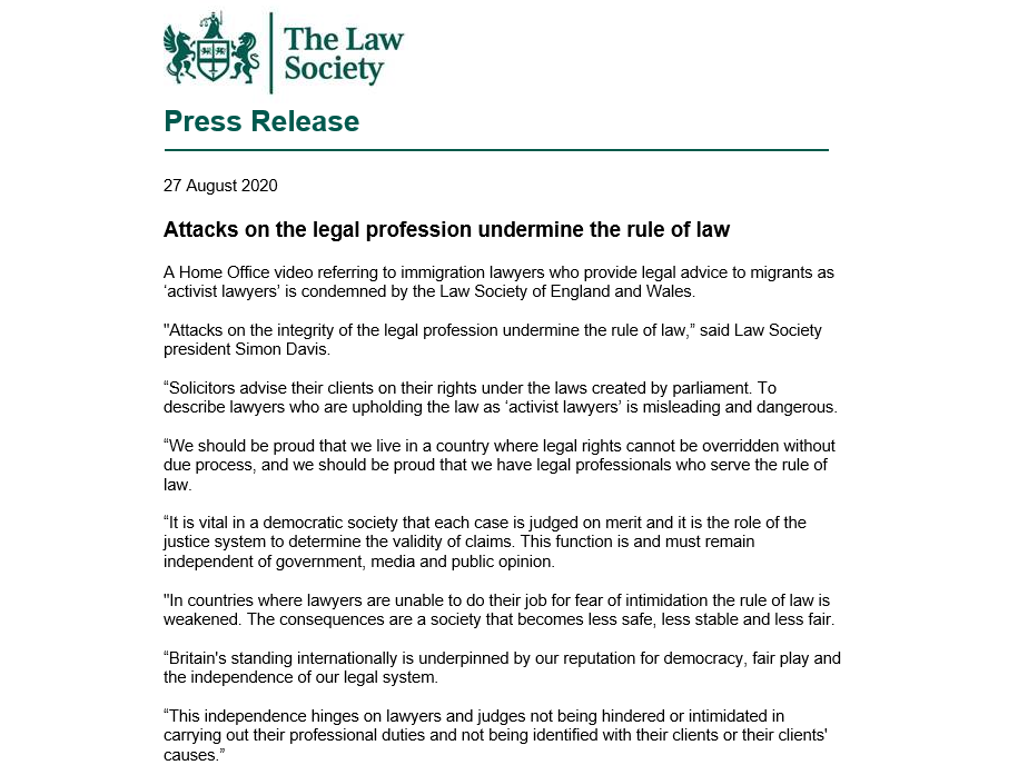 We condemn a Home Office video referring to immigration lawyers who provide legal advice to migrants as 'activist lawyers'. Solicitors advise their clients on *their rights under the laws created by parliament* lawsociety.org.uk/contact-or-vis…