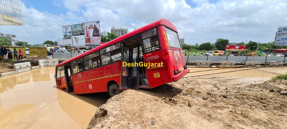 AMTS bus slips into ditch near Vaishnodevi Circle; four injured