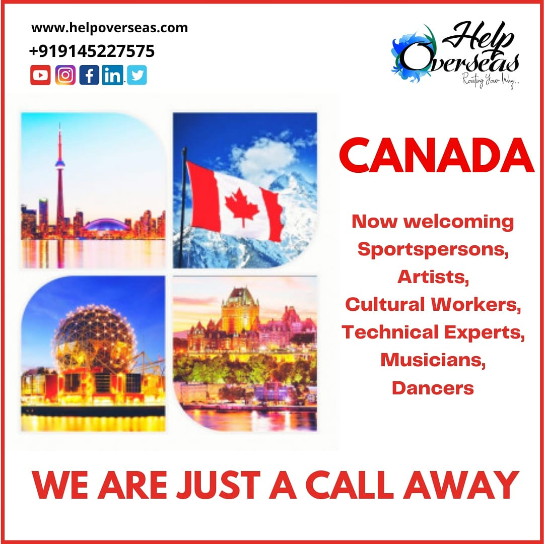 Great News! Canada calling #Sportspersons #artists, #Culturalworkers, #technicalexpert, #musicians and #dancers We are just a call away. Connect #helpoverseas today! Call on +91 9145227575 #Canada #canadaimmigration #princanada #ExpressEntry #ircc #cicnews #welcomingnewimmigrant https://t.co/Oe2q4j7QFU