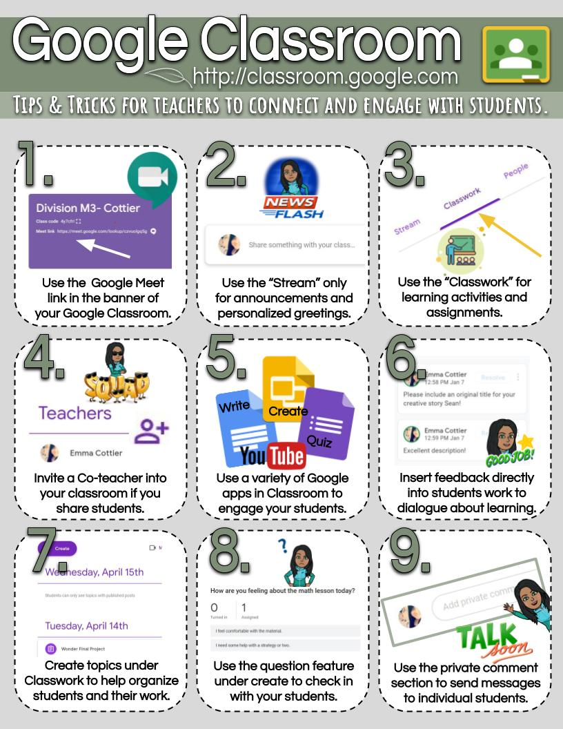 A few Google Classroom tricks and tips to help you get started! Love how easily classroom manages an effect digital workflow with your students! @EdTechTeamCAN @missalmberg @KyleGoy @kellydeklerk7 @VirtualGiff @Adamsko67 @charityhelman https://t.co/ceIODi87PT