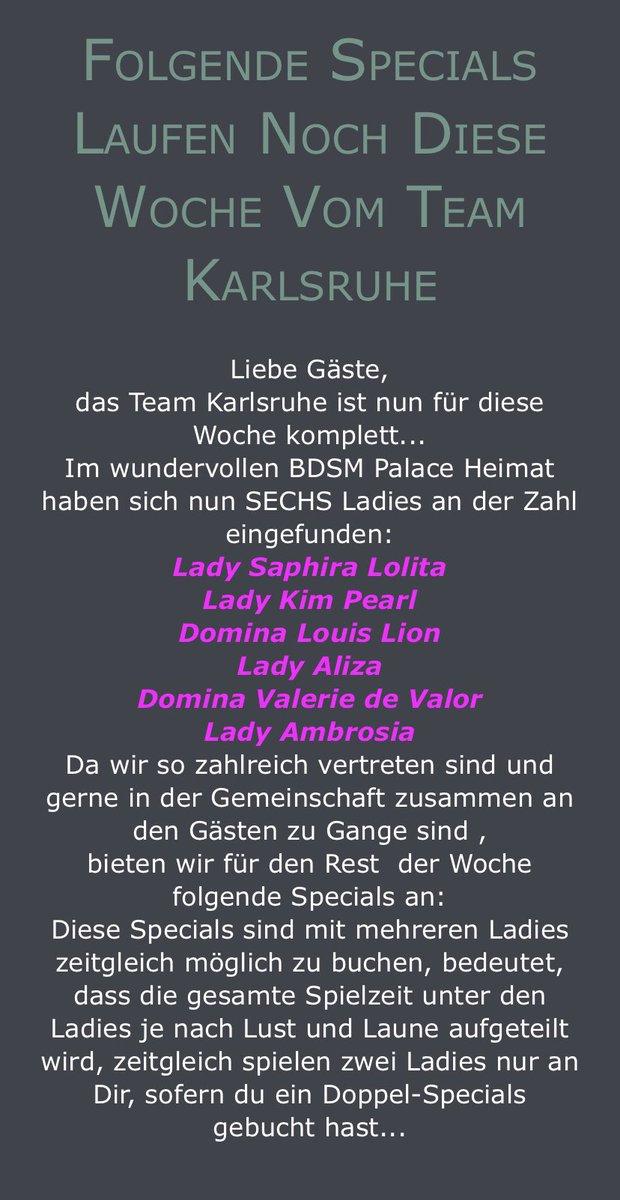 Das TEAM Karlsruhe ist nun für diese Woche komplett Alle 6 LADIES: @domina_lion  @AlizaLady  @lolita_saphira  @LadyKimPearl  @ValerieDeValor  @LadyAmbrosia2  haben sich im @BHeimat eingefunden. Folgende SPECIALS stehen euch zur Verfügung um uns noch besser kennen lernen zu können https://t.co/VkMBiC3okQ