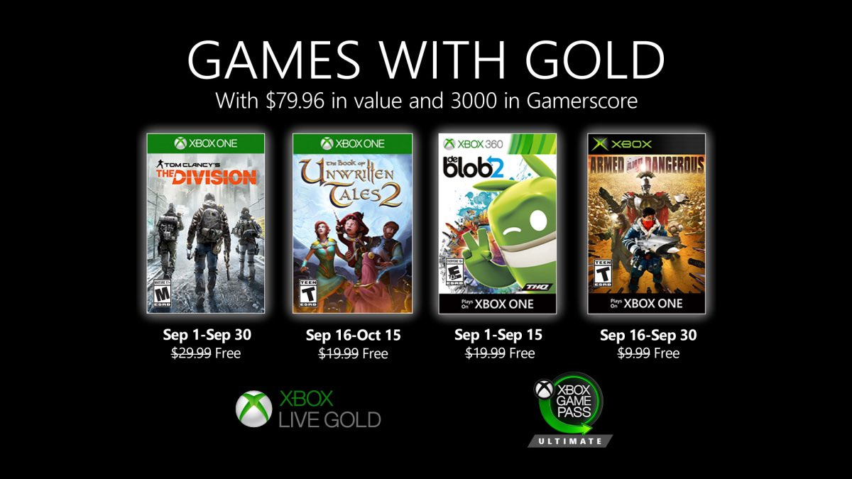 Xbox Live Games with Gold September 2020